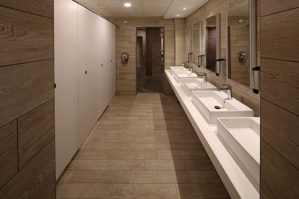 Marcato toilet cubicles and bespoke Corian vanities at Virgin Active Islington