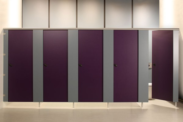 Forte toilet cubicle - purple and grey