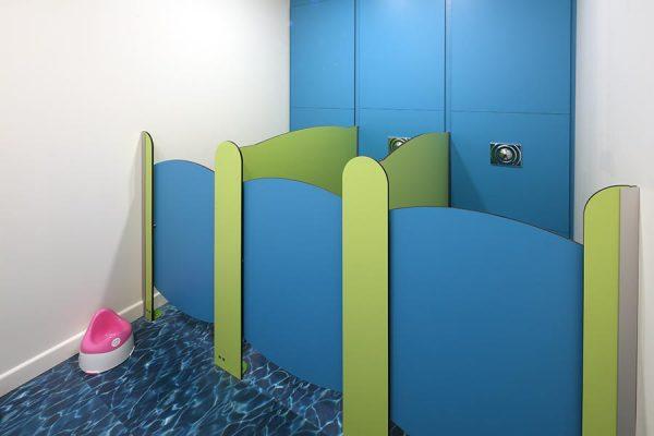Frutti toilet cubicles at Virgin Active Islington