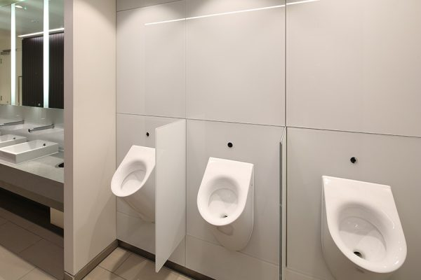 Urinal modesty screens in toughened back-painted glass - Chancery Lane