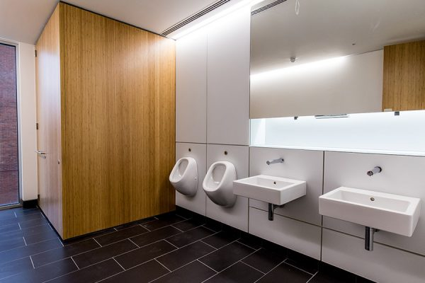 Toilet cubicles faced with eco-friendly Bamboo veneer - 98 Fetter Lane