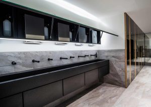 ISG HQ Black Corian vanities and Tego mirrored unit
