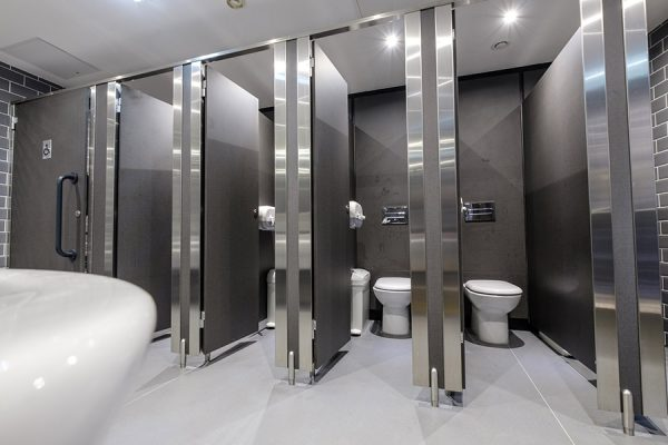 Senza cubicles with solid grade laminate panels at Camden Market Stables