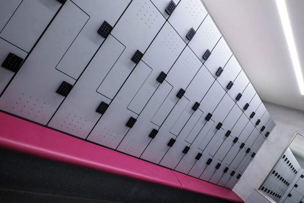 Forza lockers and cushioned legato bench units at Westfield London, Cycle Change
