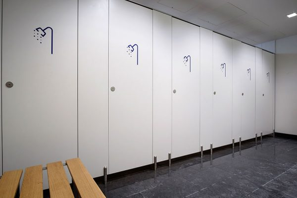 Marcato solid grade laminate shower cubicles - Parnell House