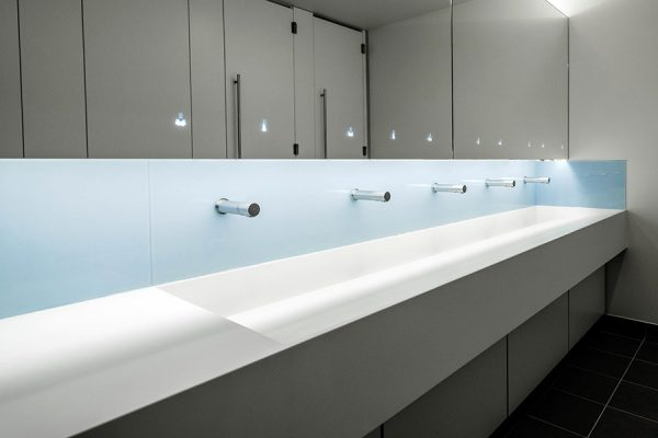 Corian trough style vanity units with glass splashbacks - Ziggy Stardust
