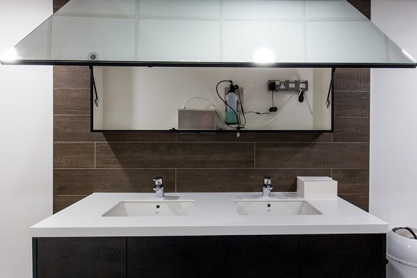 AMC tego hinged mirror and corian trough