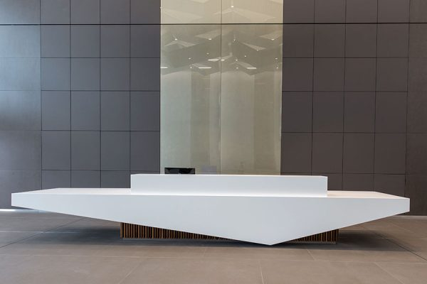 Bespoke Corian reception desk - The Bower