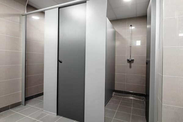 Forte toilet and shower cubicles in grey - Chelsea Sports Centre, London