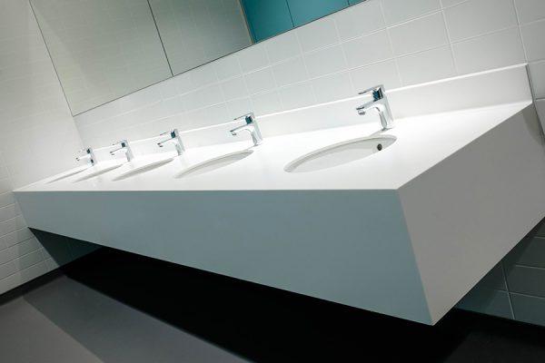 Bespoke Corian vanity units - Imperial College, London