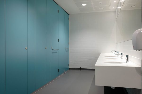 Marcato cubicles and Corian vanity units - Imperial College, London
