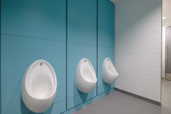 Concerto integrated duct panelling in pale blue - Imperial College, London