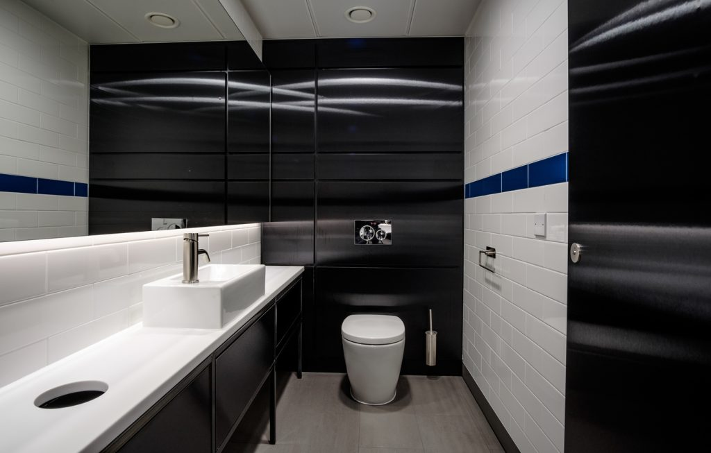 black brushed metallic effect high pressure laminate duct panels