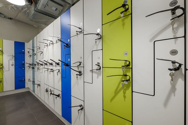 Forza solid grade laminate lockers in four different shades - Devonshire Square, London