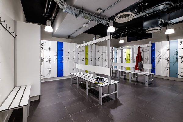 Forza lockers and Legato bench units - Devonshire Square, London