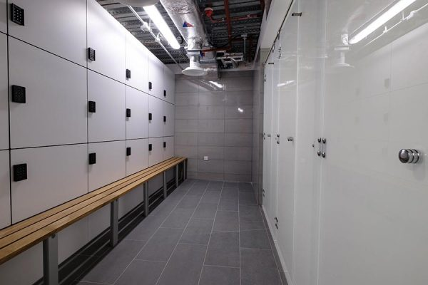 Forza lockers and Luminoso Glass shower cubicles - New Bracken House
