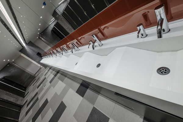 Arpeggio Corian vanity units with wave design - Intu Shopping, Watford