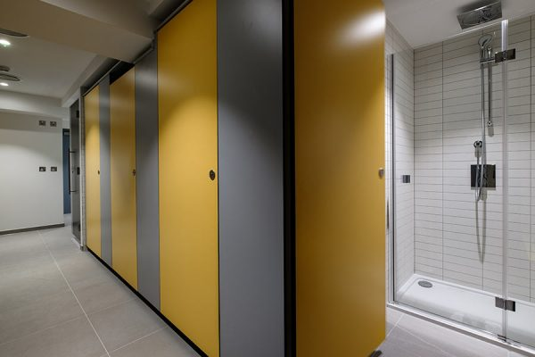 Marcato solid grade laminate cubicles in yellow and light grey