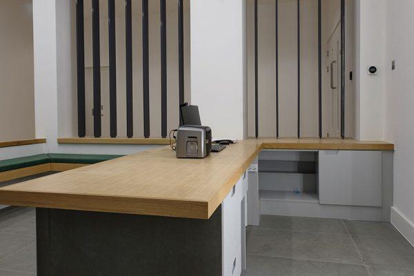 Oak veneer reception desk
