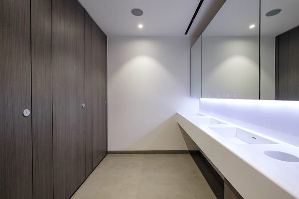 Compact modern washroom at 12 Arthur Street, London