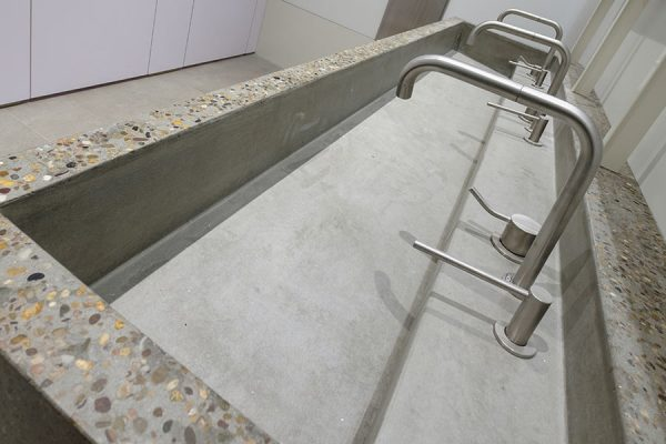Concrete trough vanities at Harella House