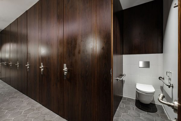 Alto full height toilet cubicles in walnut laminate - Park House, London
