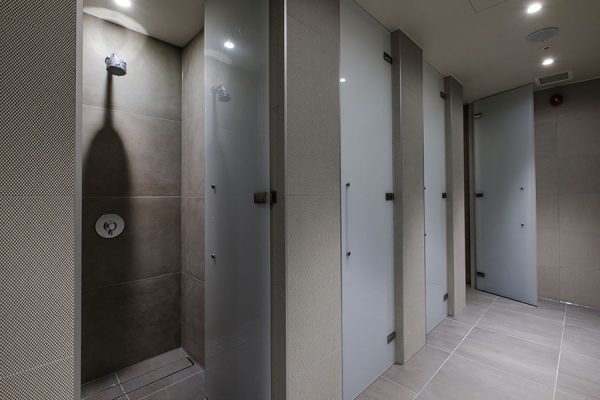 Luminoso glass shower cubicles at Third Space Islington