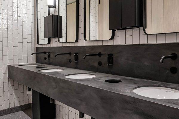 Arpeggio Corian Carbon Concrete colour vanity units at Regent House