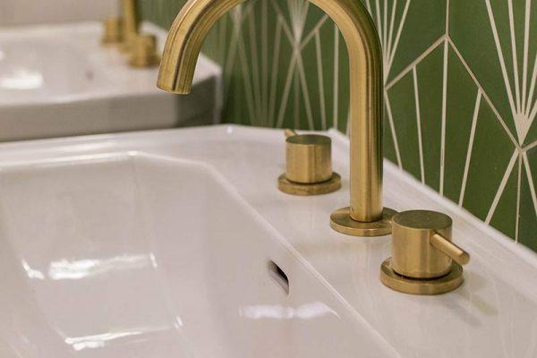 Brass-effect taps - Hammer House, London